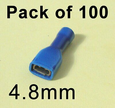 100 x 4.8mm Fully Insulated Shrouded Blue Crimp Spade Connector Terminal Female