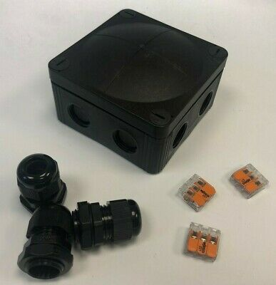 Wiska Combi 407 Black Weatherproof Junction Box + Wago connectors & Glands IP66