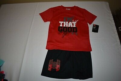 Under Armour Boys Outfit Size 4 Nwt Red/Black