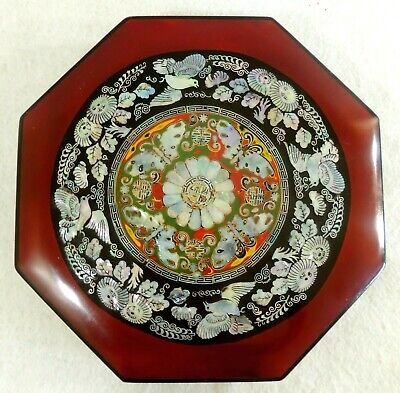 "Antique/Vtg Chinese 12"" Inlaid Mother of Pearl Octagon Wood Lacquer Jewelry Box"