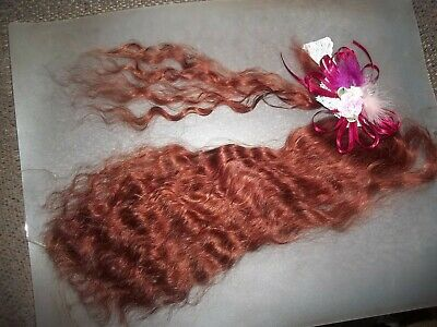 GORGEOUS AUBURN~ CURLY 13in. FOR REBORN~SILKY~.04 OZ~YEARLING ANGORA MOHAIR