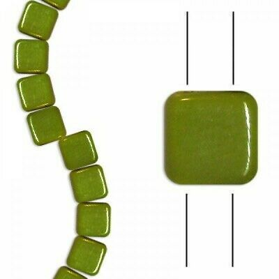 30 Pieces Bronze and Green Vitrail Czech Glass Tile Beads 8mm CG642