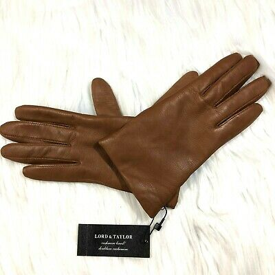NEW Lord & Taylor Womens 6 (XS?) Brown Leather Cashmere Lined Gloves #5286 $85
