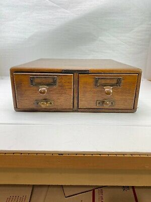 Antique Library Bureau Sole Makers TIGER OAK Card Catalog File Box With Rods!