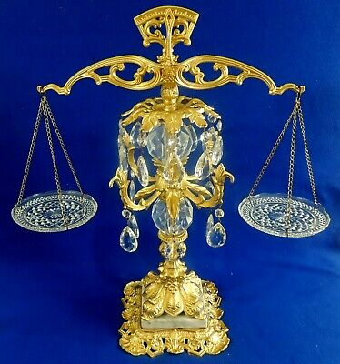 Antique/Vtg Ornate Gold Crystal Marble Balancing Scale of Justice Office Decor