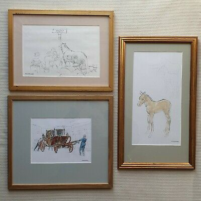 Michael Noakes 1933-2018 three original signed paintings/drawings Royal Carriage