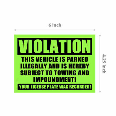 50 GLOSSY GREEN VIOLATION - NO PARKING - TOWING Sticker - No Parking stickers.