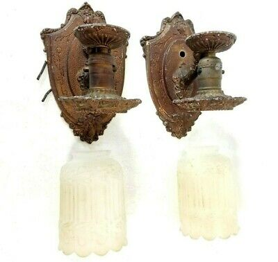 Antique Vintage Art Deco Gothic Shade Pair Wall Sconce Lincoln Lighting fixtures