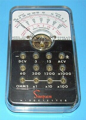 VINTAGE SIMPSON MIDGETESTER 355 3 TO 1000 VOLTS DC/DC OHMS X1 TO x100
