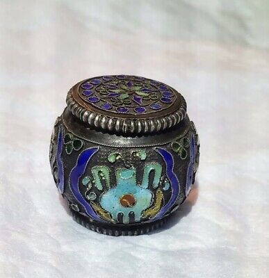 Rare Miniature Chinese Silver Cloisonne Enamel Opium Pill Box