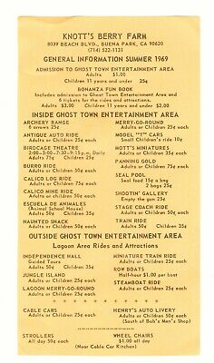 Summer 1969 Information Rides Ticket Price Sheet Knotts Berry Farm Ghost Town Ca