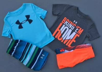 Boy's Size 4 Under Armour Lot Of 4 Items Shirts/Shorts/Swim Outfits New