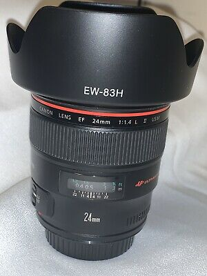 Canon EF 24mm f/1.4 L USM Version II Lens with caps and hood