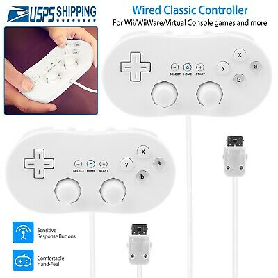 2 Pack Wired Classic Controller Video Game Pad For Nintendo Wii Remote White US