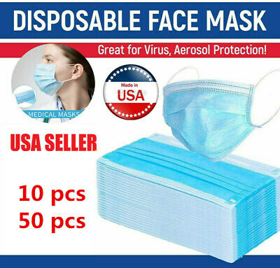 10/50 Disposable Surgical Face Mask For Ati Virus & Flu 3 Ply Protection Masks