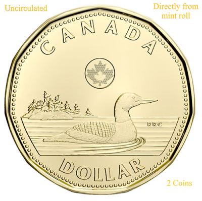 CANADA 2020 New 2 x $1 Loonie ORIGINAL COMMON LOON (UNC Directly from mint roll)