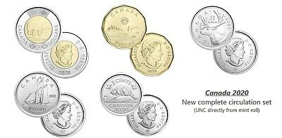 CANADA 2020 New Complete circulation set (UNC directly from mint roll)