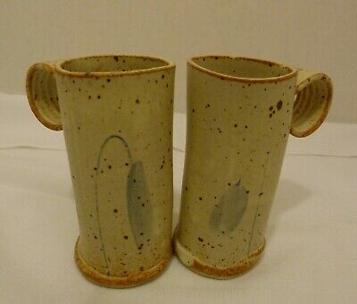 Set of Two (2) Studio Art Hand Crafted Pottery Mugs Unusual Slender Shape