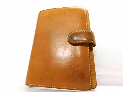 Louis Vuitton Agenda Genuine Leather Brown Card Case Diary Purse Wallet Auth