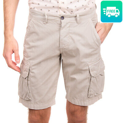 FRED PERRY Cargo Shorts Size 31 Light Grey Button Fly