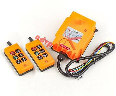 2 Tansmitters 6 Channels Industrial Wireless Crane Switch Hoist Remote Control