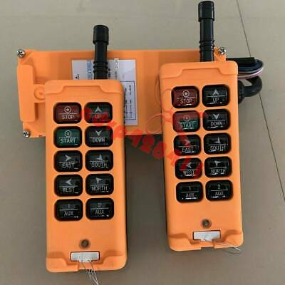 2 Tansmitters 10 Channels Industrial Wireless Crane Switch Hoist Remote Control
