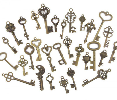 120 Set Old Lock Keys Vintage Style Antique Skeleton Furniture Cabinet Necklac