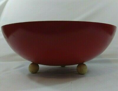 Vintage Munising Large Red Carved Wooden Footed Dough Bowl Early Mid Century