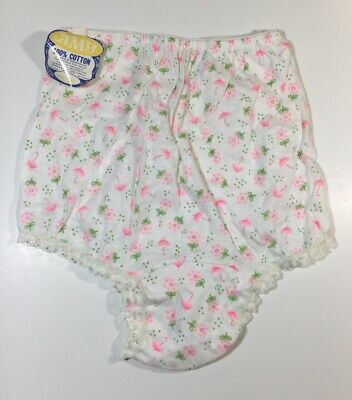 Vintage Amy Panties Size 12 White Pink Green Floral Lace 100% Cotton NOS