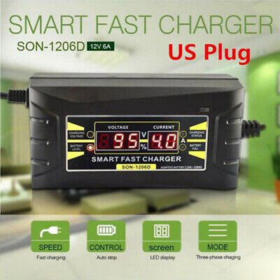 12V 6A Car Motorcycle Smart Fast Lead-acid Battery Charger LCD Display US PluVe