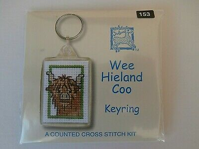 HIGHLAND COO COW  Counted Cross Stitch Keyring Kit
