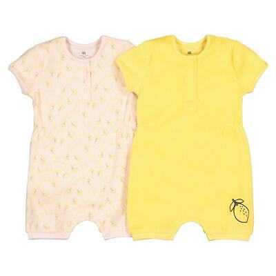 Baby Girls Pack Of 2 Cotton Mix Short All-In-Ones Birth-2 Years 350165019