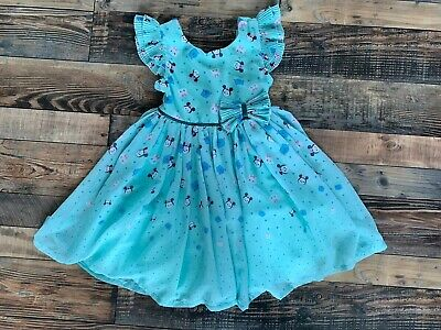 Disney Tsum Tsum Girls Teal Chiffon Dress Sully Minnie Mouse Marie Size 6 Vguc