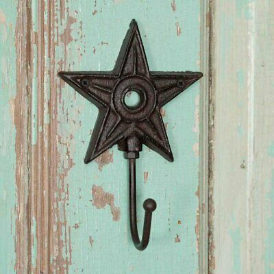 Farmhouse Country Architectural Barn Star Wall Hook Cast Iron Metal