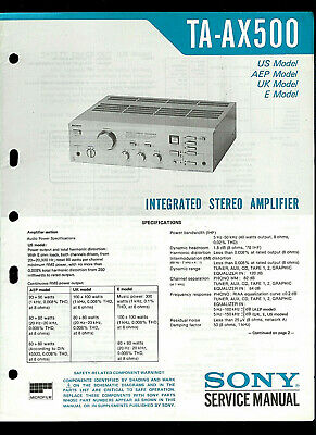 Sony TA-AX500 Integrated Stereo Amplifier Original Factory Service Guide Manual