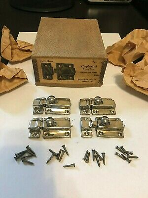 4 Nos Old Art Deco Nickel Plate Brass Hoosier Cabinet Cupboard Door Latch Lock
