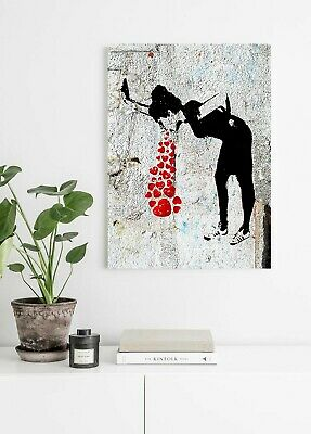 Banksy Love Sick - Canvas/Framed Wall Art Picture Print - Red Black