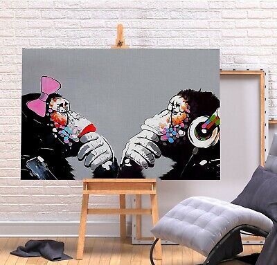 Banksy Dj Monkeys Thinking - Canvas/Framed Wall Art Picture Print - Black Grey