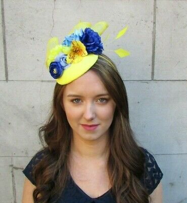 Yellow Royal Blue Light Blue Floral Rose Flower Feather Hat Fascinator Hair 0039