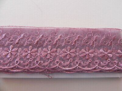 New Card of Silky embroidered Lace - Dusky Pink 6cm