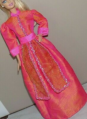 Barbie Pink Sparkly Shimmer Fashion Evening Gown Dress /& Shoes