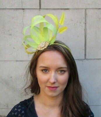 Bright Yellow Lime Lemon Green Gold Fascinator Feather Sinamay Headpiece 0052