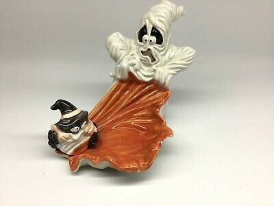 Fitz & Floyd Halloween Rare Ghost & Spider Candle Holder Candy Dish