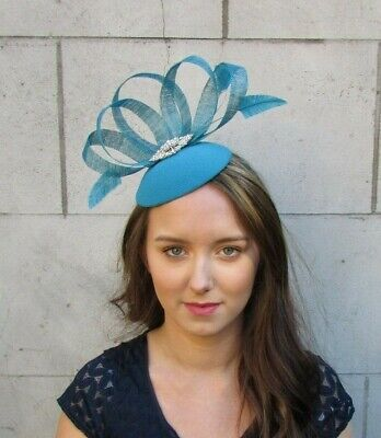 Turquoise Teal Blue Silver Feather Hat Fascinator Races Wedding Cocktail 0053