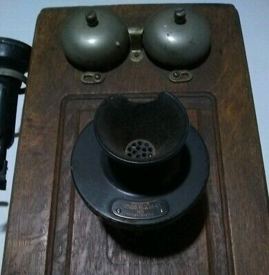 Antique Oak Wall Mounted Telephone W/ AT&T