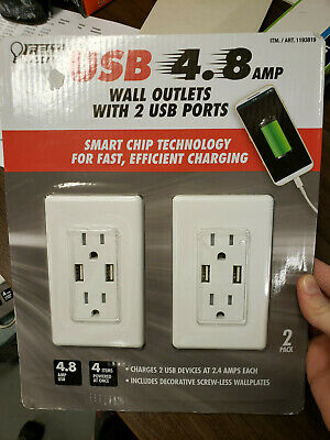 New-Sealed- FEIT USB 4.8 AMP wall outlets w/ 2 USB ports Fast Charging 2 PACK