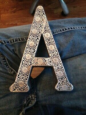 """Decorative Metal Letter 'A' Wall Shelf Art Decor Alphabet Sign 10"""" by 7"""" by 2"""""""