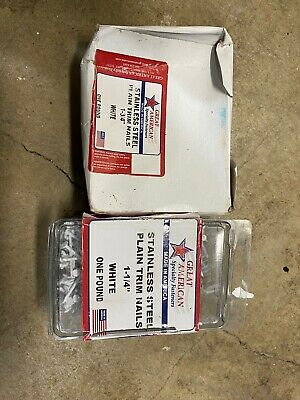 """Stainless Steel WHITE TRIM NAILS 1-1/4""""  & 1-3/4"""" [ 4 oz. Of Each] Made in USA!"""