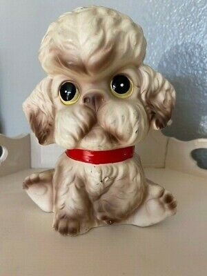 Norleans Japan White Poodle Piggy Bank Coin Slot with Stopper - Big Eyes Vintage