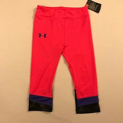 UNDER ARMOUR NWT Size 5 Youth Girls UA Copped Athletic Pants Leggings Pink